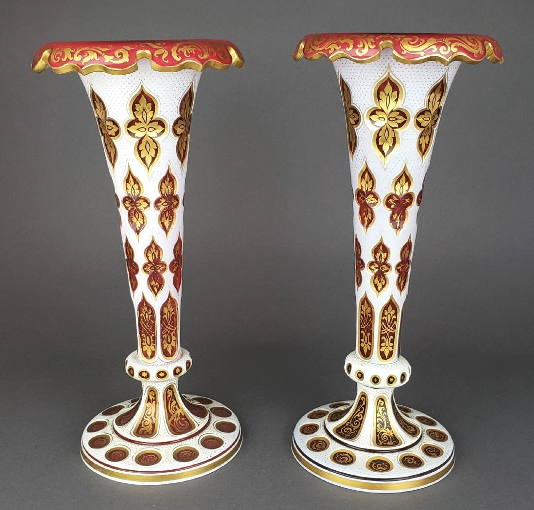 Pair of Large 19th C. Bohemian Vases