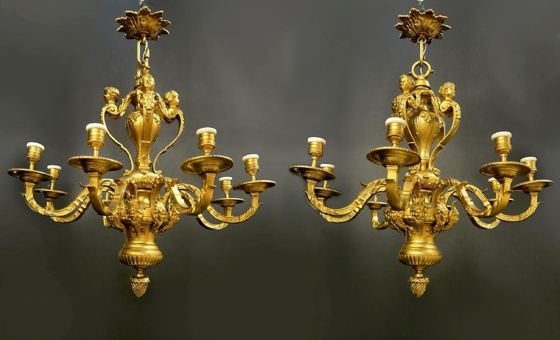 Pair of French Figural Bronze Chandelier. 19th C. - 2