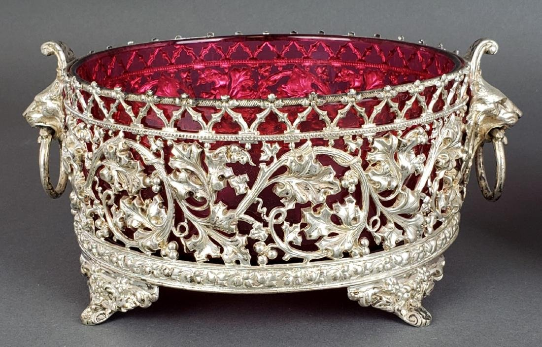 Pair of European Silverplated and Cranberry Glass Bowls - 2
