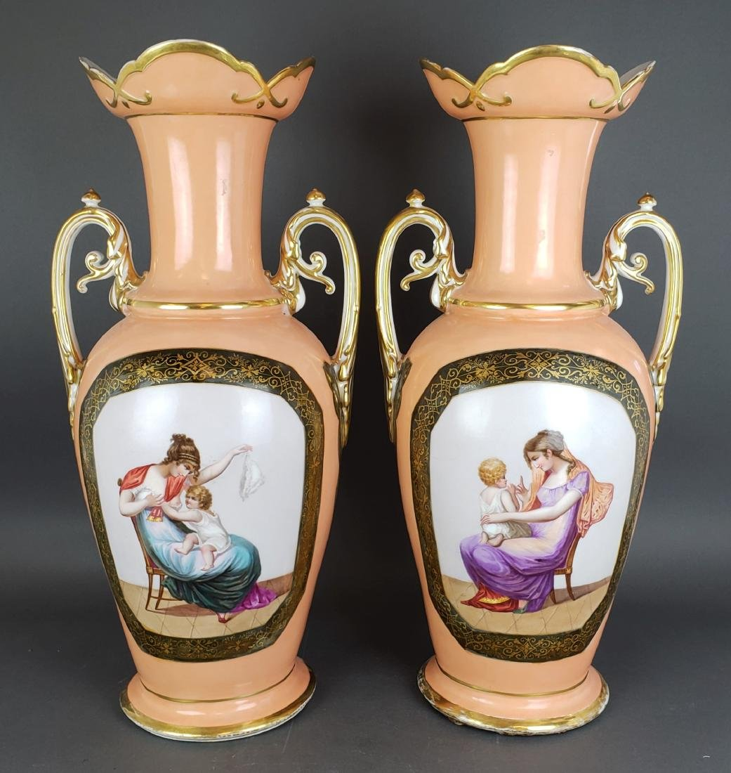 Pair of 19th C. French Large Porcelain Vases