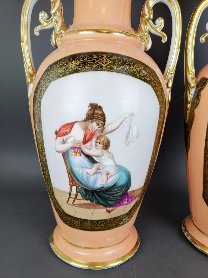 Pair of 19th C. French Large Porcelain Vases - 2