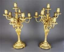 Fine Pair of F. Barbedienne Signed Bronze Candelabras,