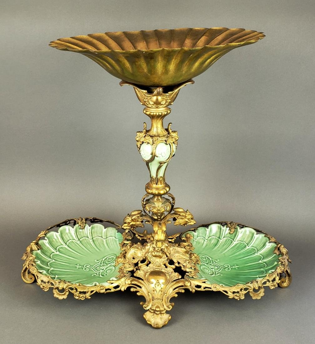 Large Dirk Van Erp Bronze & Porcelain Centerpiece