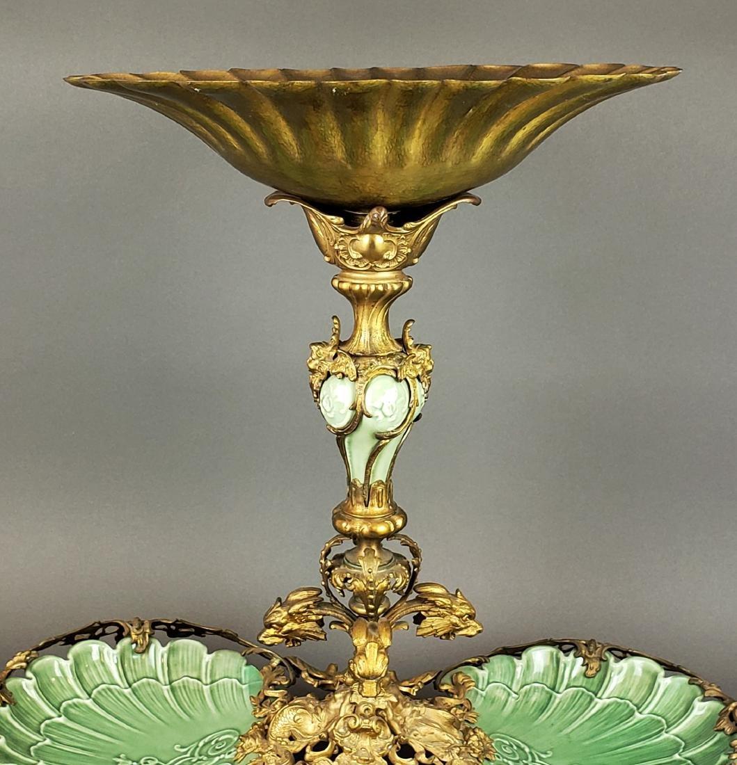 Large Dirk Van Erp Bronze & Porcelain Centerpiece - 3