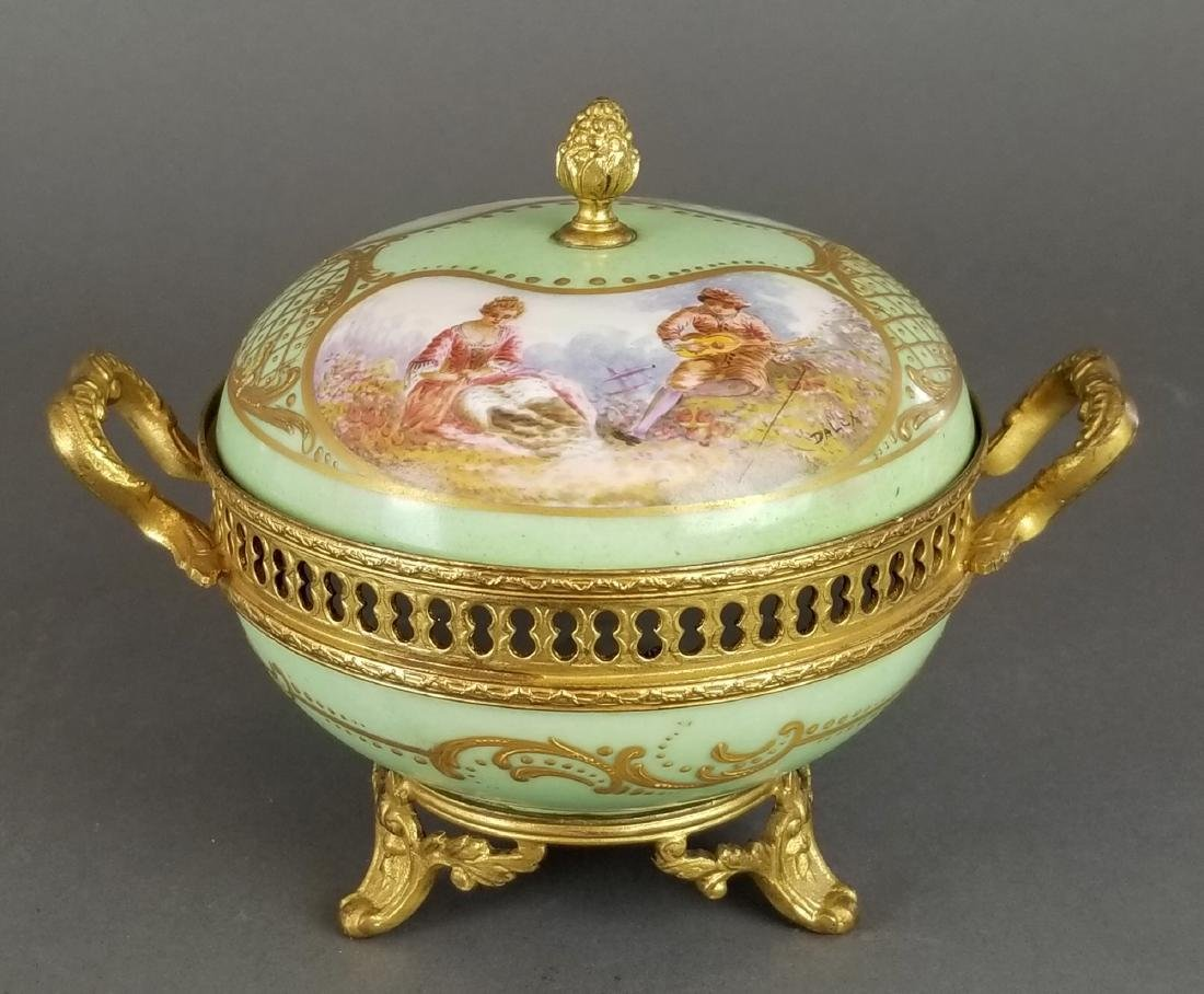 Ovington Porcelain & Bronze Covered Jewelry Box
