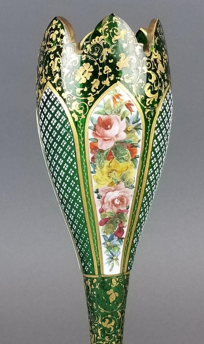 19th C. Bohemian Diamond Cut Vase - 4