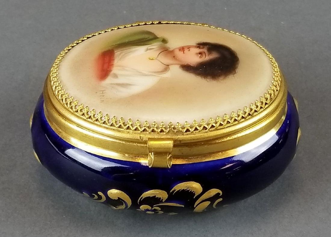 French Seres Style Handpainted Jewelry Box