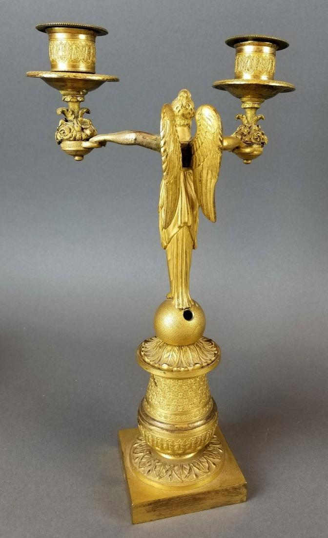 Pair of 19th C. Bronze Empire Candelabras - 4