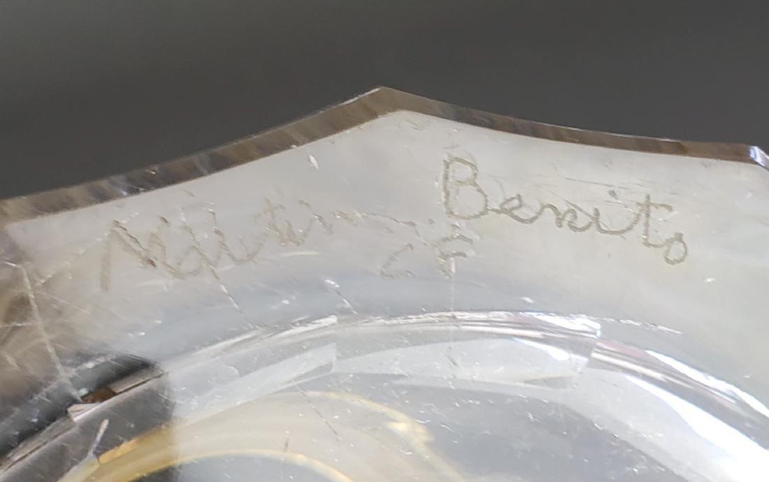 Martin Benito Signed Crystal & Gilt Bronze Ram Handle - 4