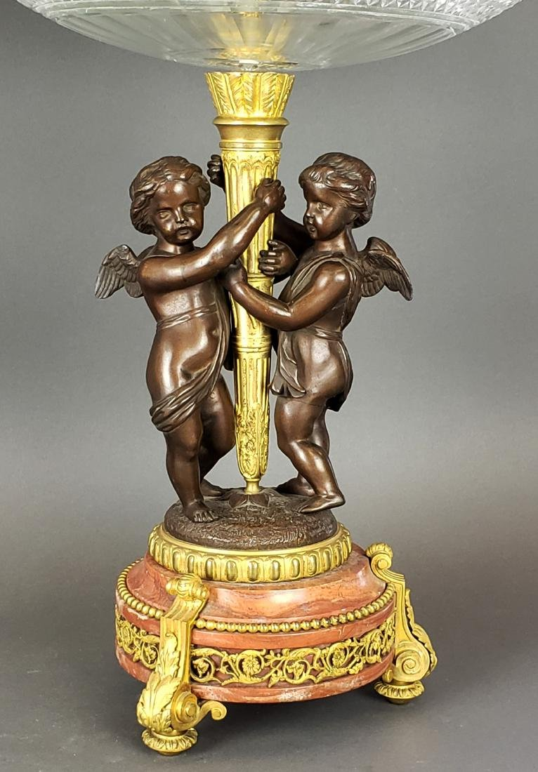 Pair of Large Gilt & Patinated Bronze w/ Baccarat - 2