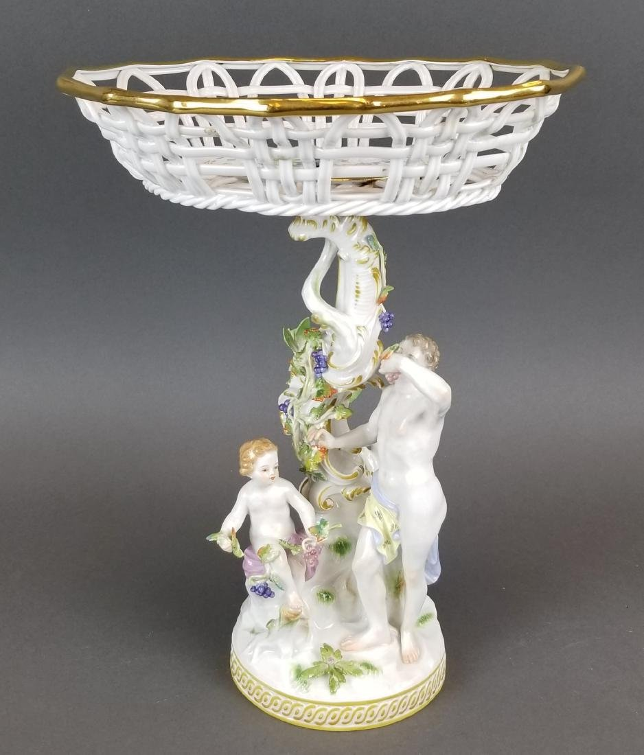 19th C. Meissen Porcelain Figural & Reticulated Cake
