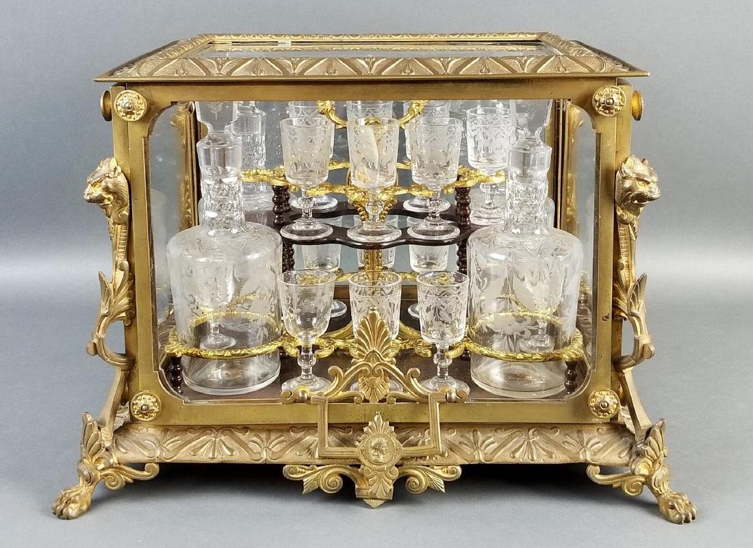 A 19th C. French Gilt Bronze Tantlus Liquor Set