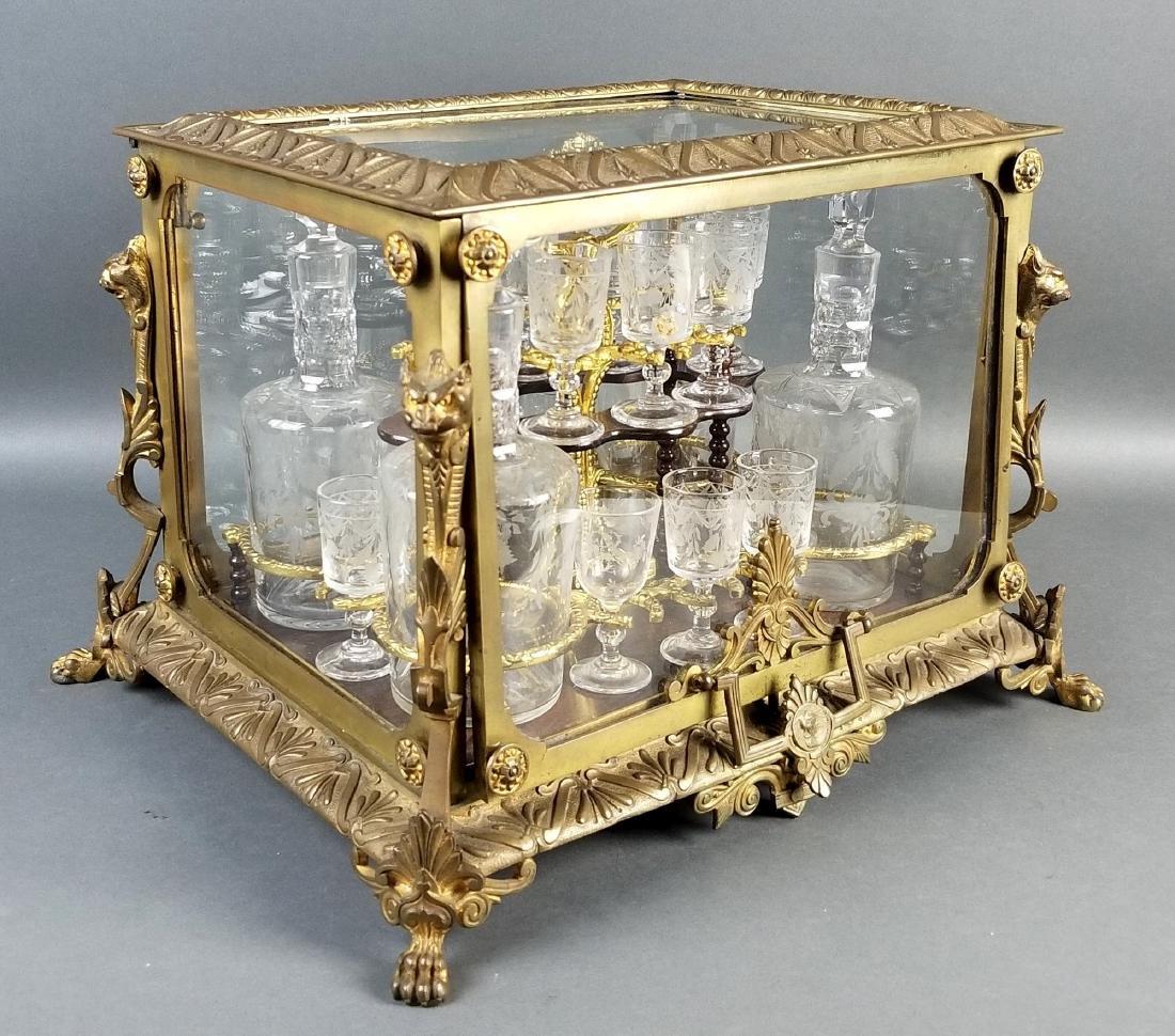 A 19th C. French Gilt Bronze Tantlus Liquor Set - 2