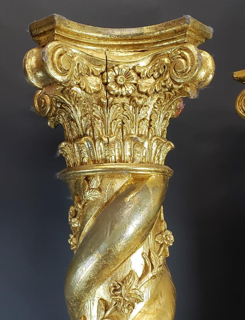 Pair of Large Giltwood Louis XV Style Pillars, Circa - 2
