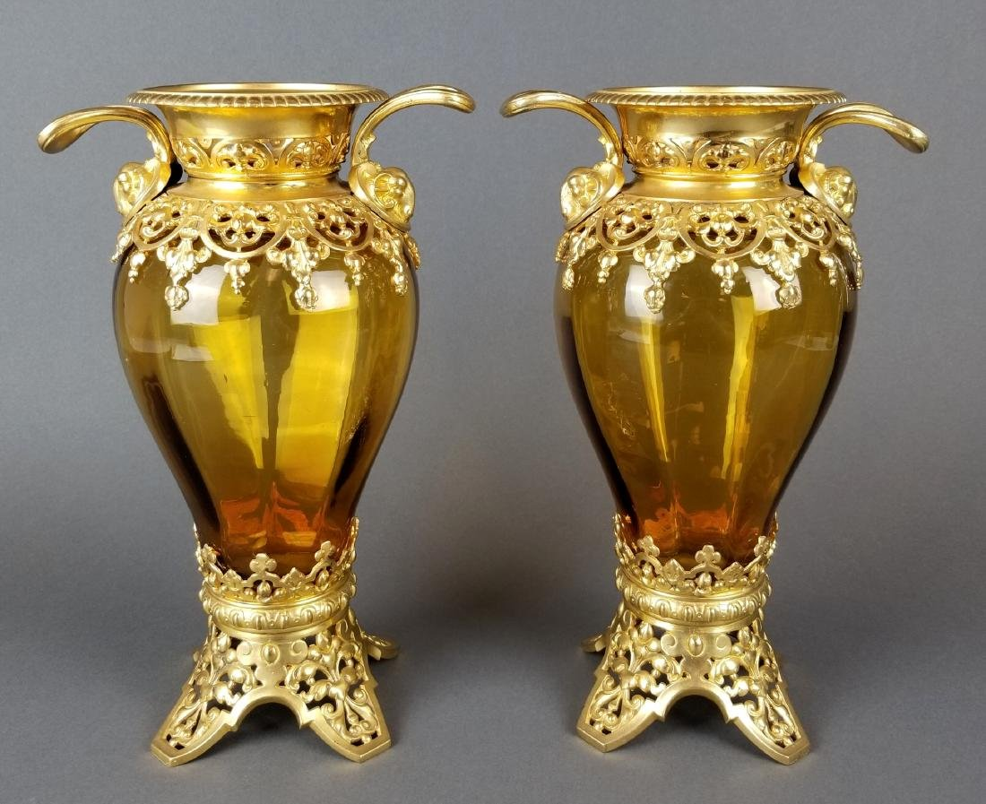 Pair of French Bronze & Baccarat Crystal Vases