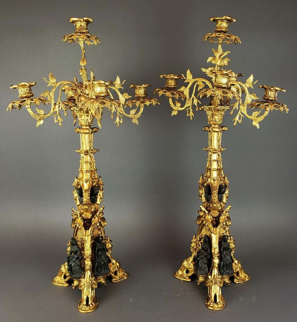 Pair of 19th C. French Gilt & Patinated Bronze Figural