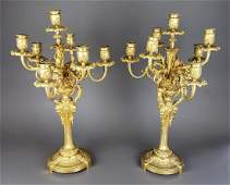Fine Pair of F. Barbedienne Signed Bronze Candelabras,