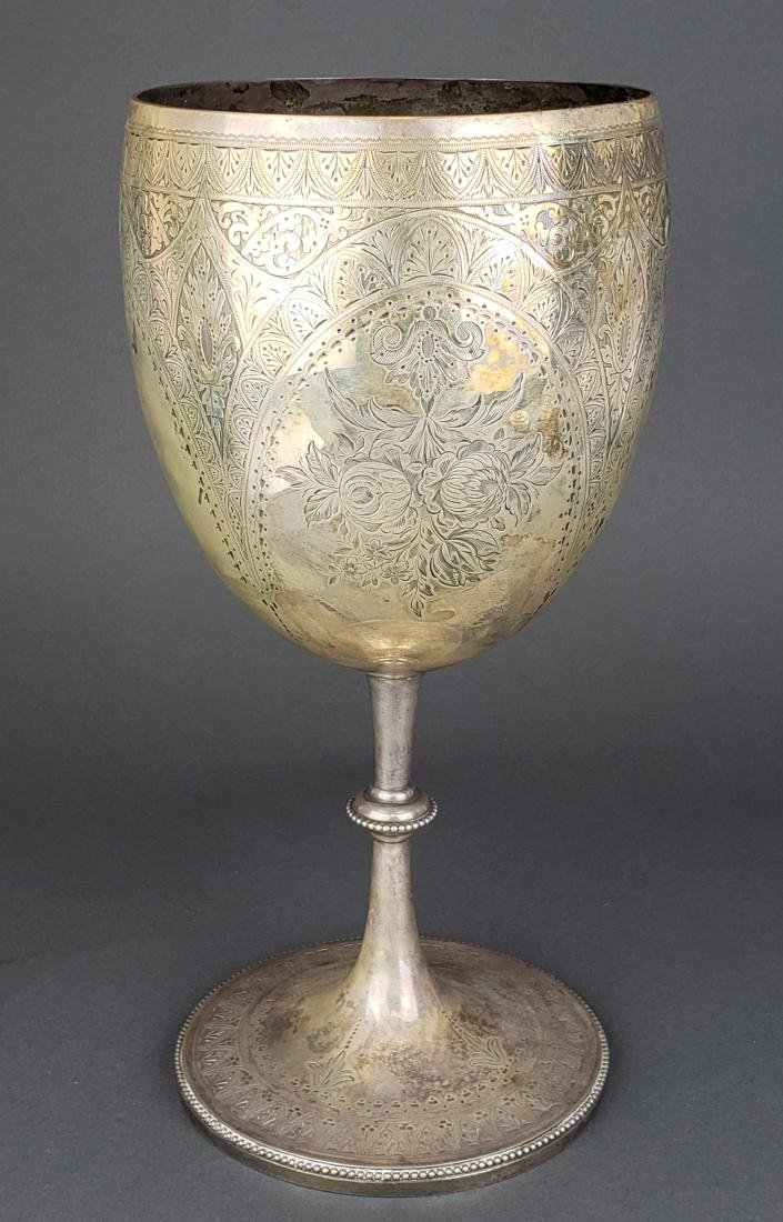 Large Continental Silver Engraved Chalice Cup