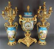 19th C. Large French Sevres Porcelain & Bronze Clockset