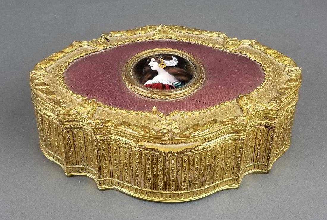 19th C. French Bronze & Enamel Jewelry Box