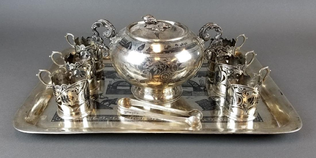 Persian Silver Hand Engraved Teaset from Ahvaz