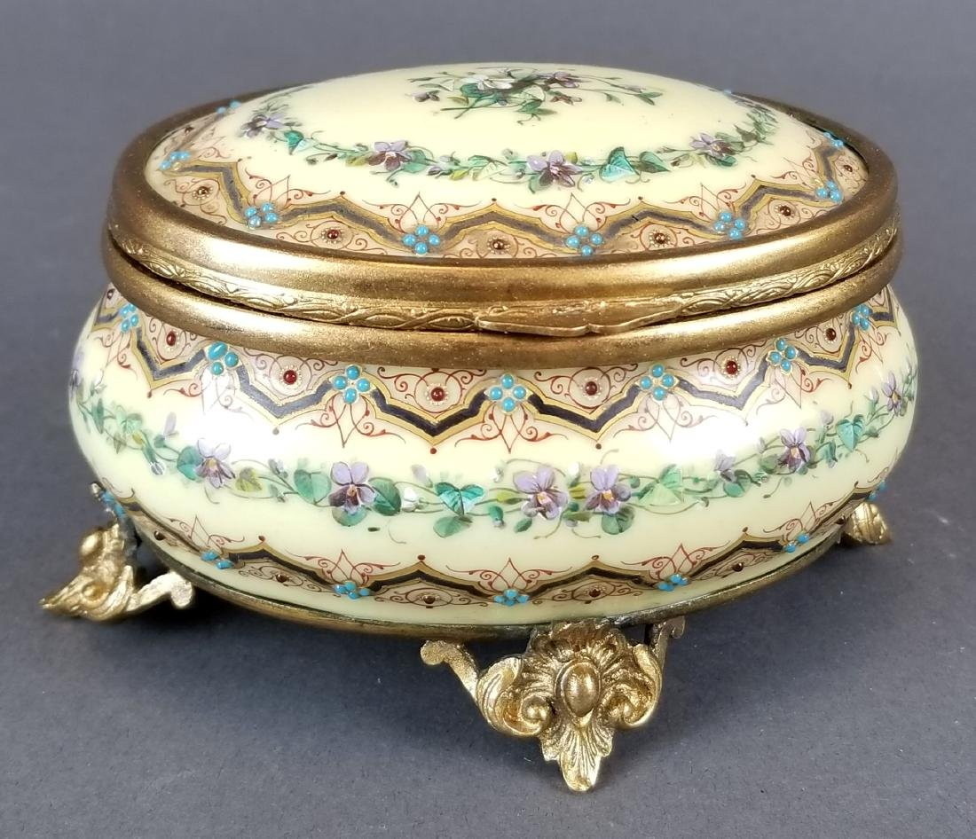 19th C. French Jewelled Enamel Jewelry Box