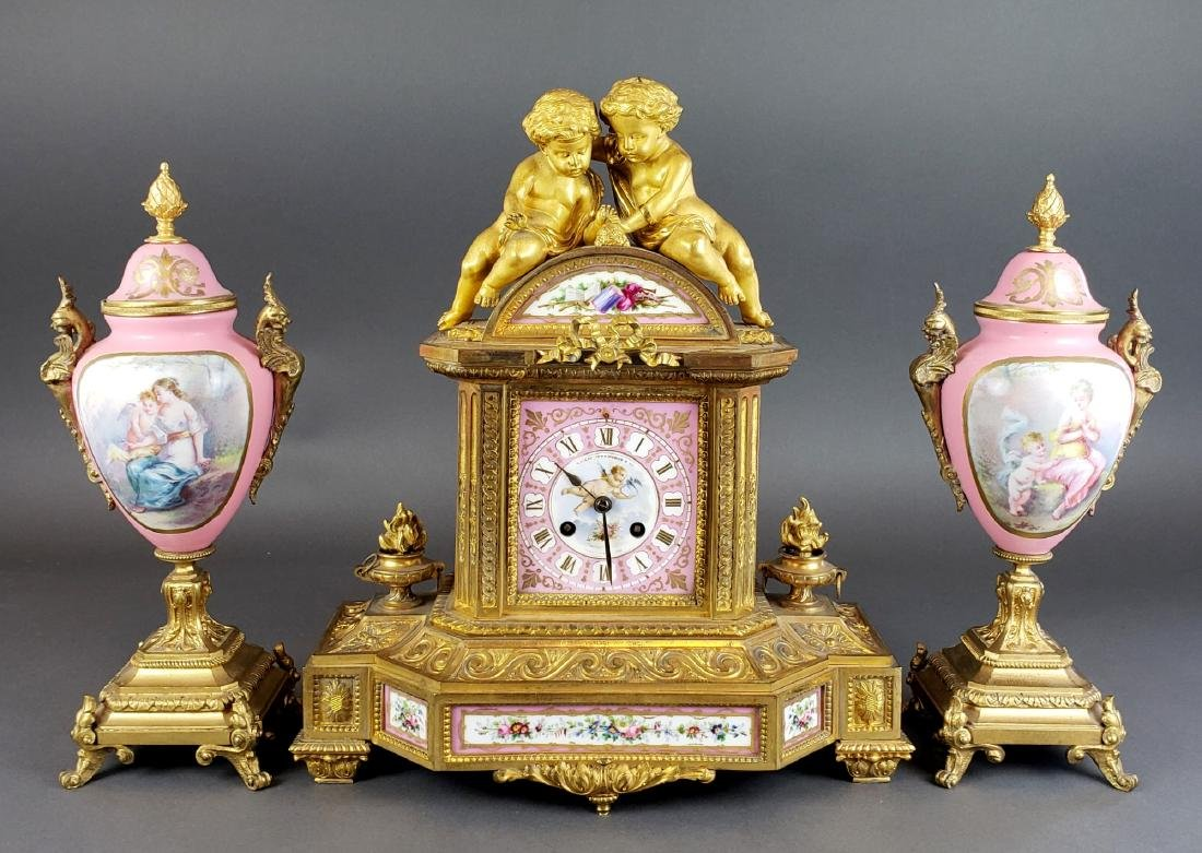 19th C. Sevres Porcelain & Bronze Clockset