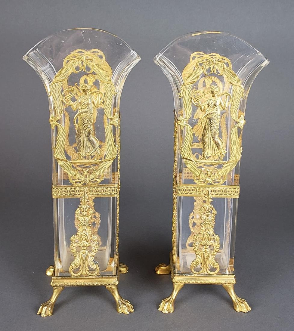 Pair of Fine French Baccarat Crystal & Bronze Vases,