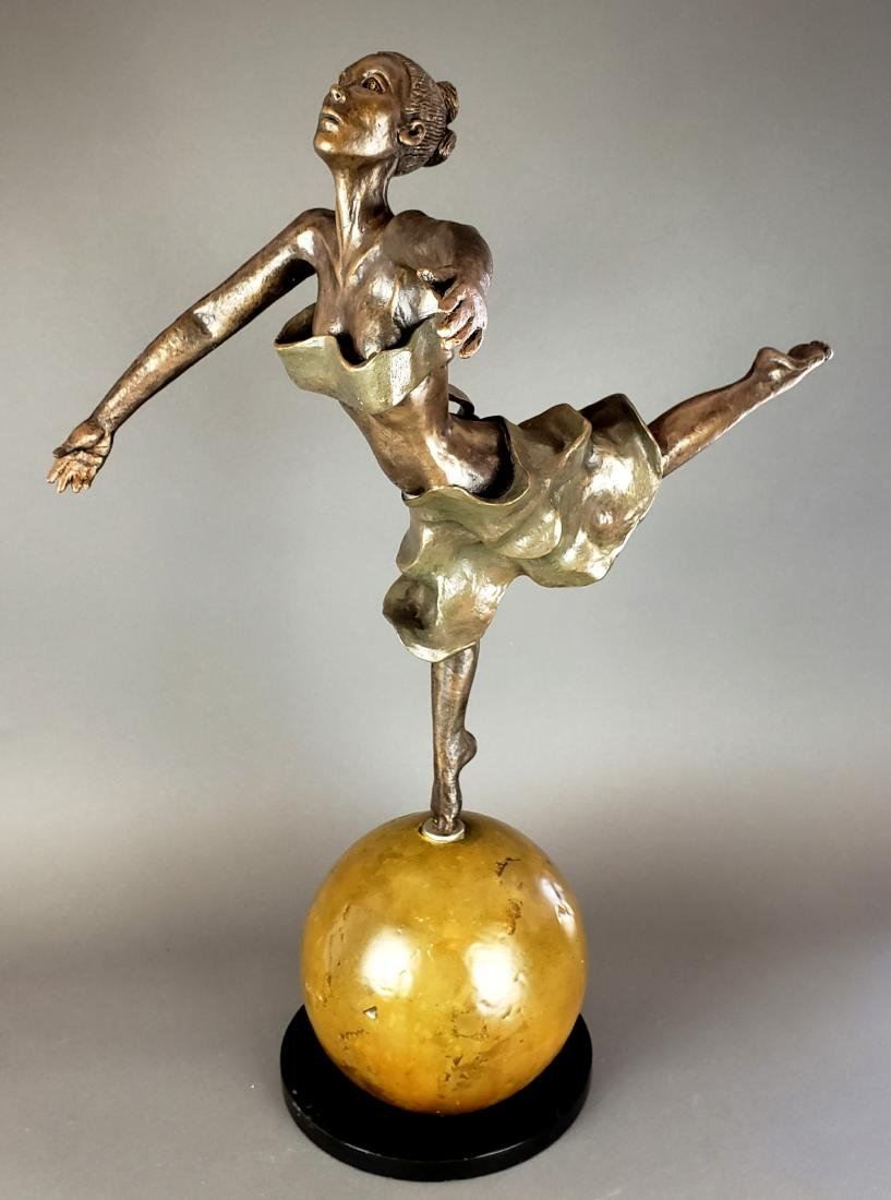Bronze Figural Statue of Woman Dancing
