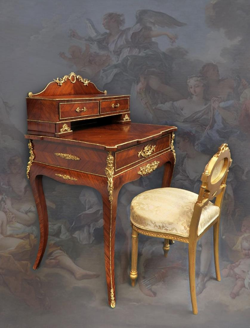 19th C. Fine French Bronze Mounted Lady's Desk