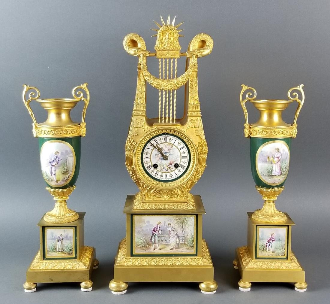 19th C. French Sevres and Bronze Clockset