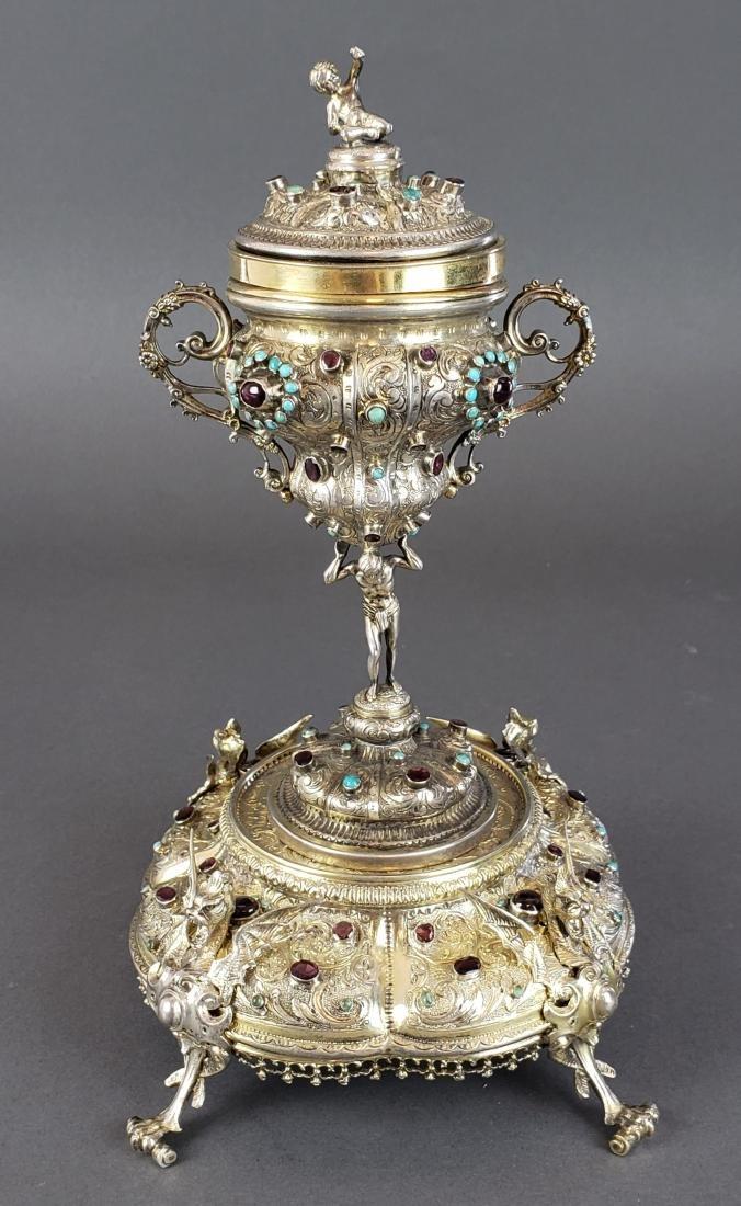 19th C. Austrian Silver Enamelled Centerpiece