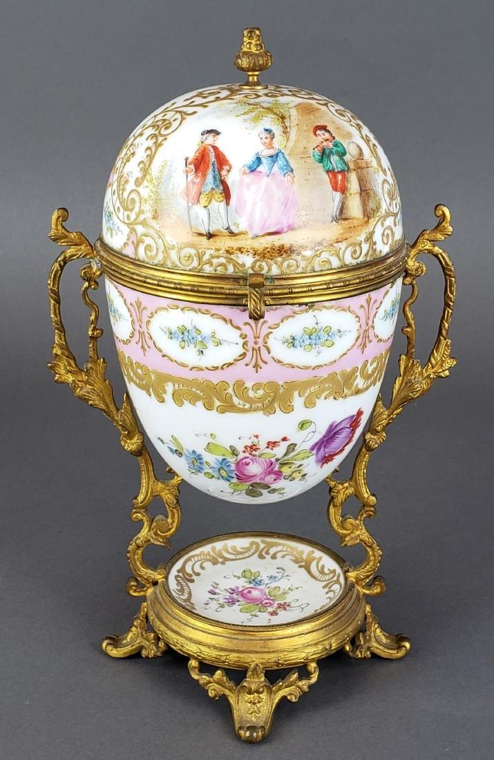 French Sevres Porcelain & Bronze Egg Shaped Vase