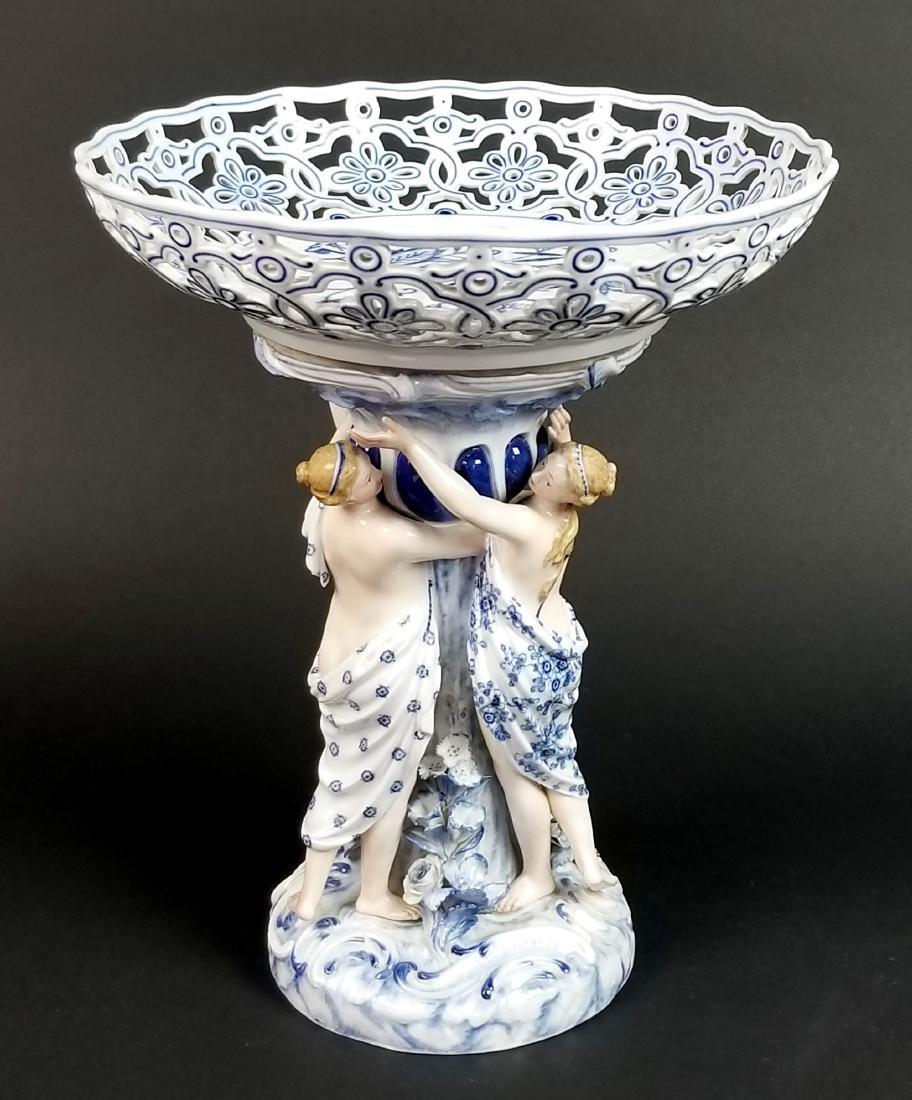 19th C. Meissen Blue Onion Figural Centerpiece with 3