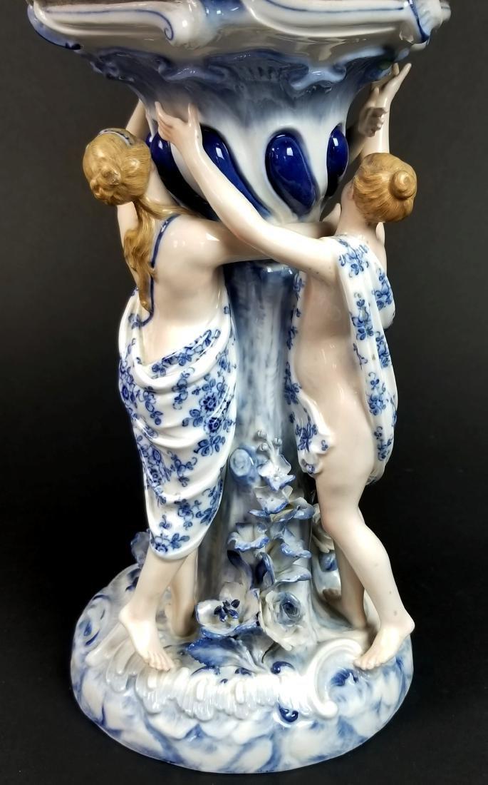 19th C. Meissen Blue Onion Figural Centerpiece with 3 - 4