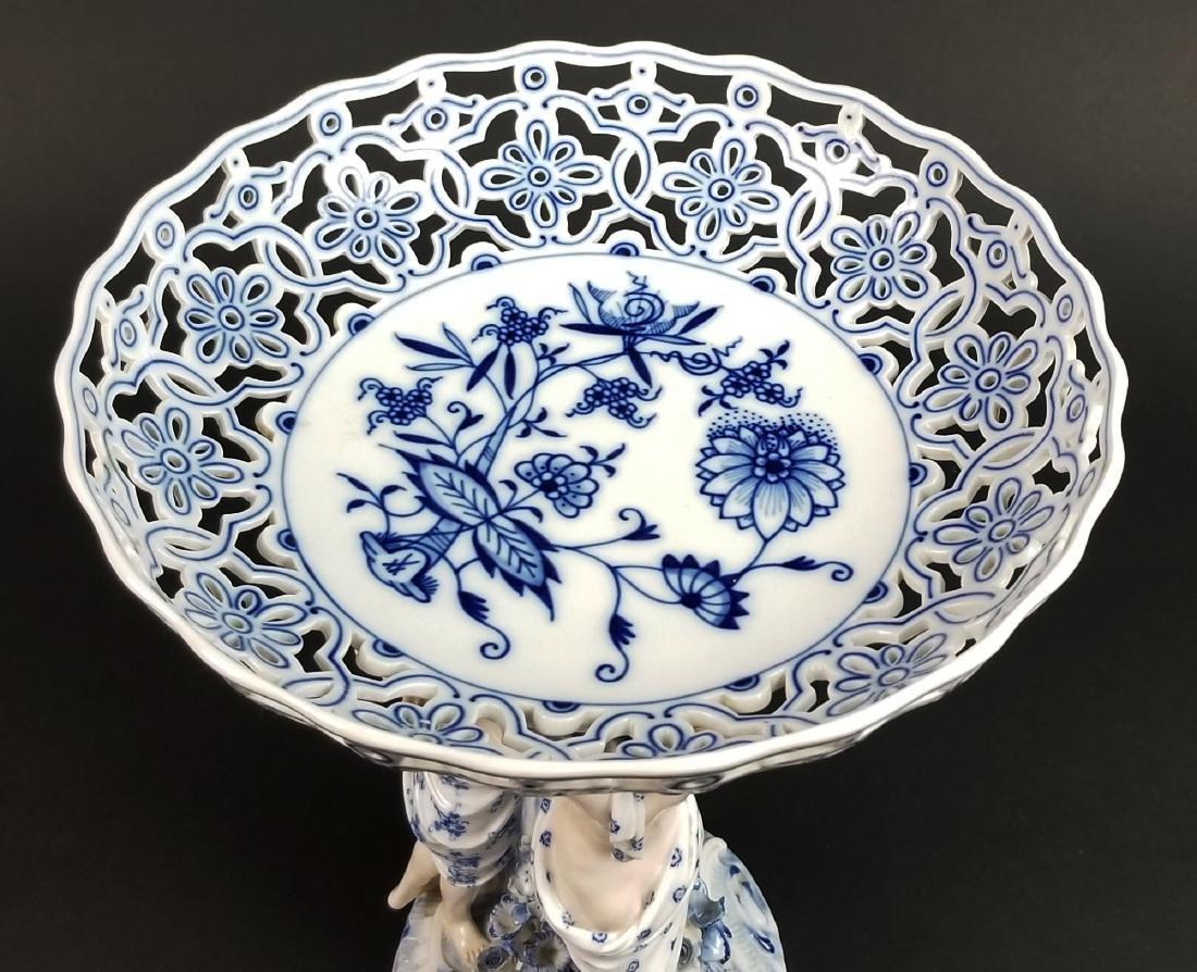 19th C. Meissen Blue Onion Figural Centerpiece with 3 - 7