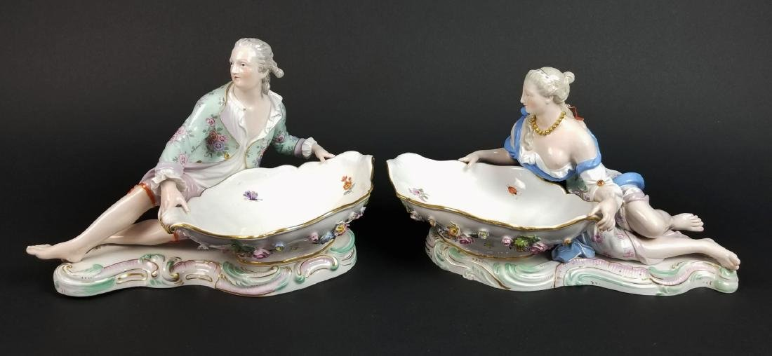 Pair  of 19th C. Meissen Figural Sweetmeat Dishes