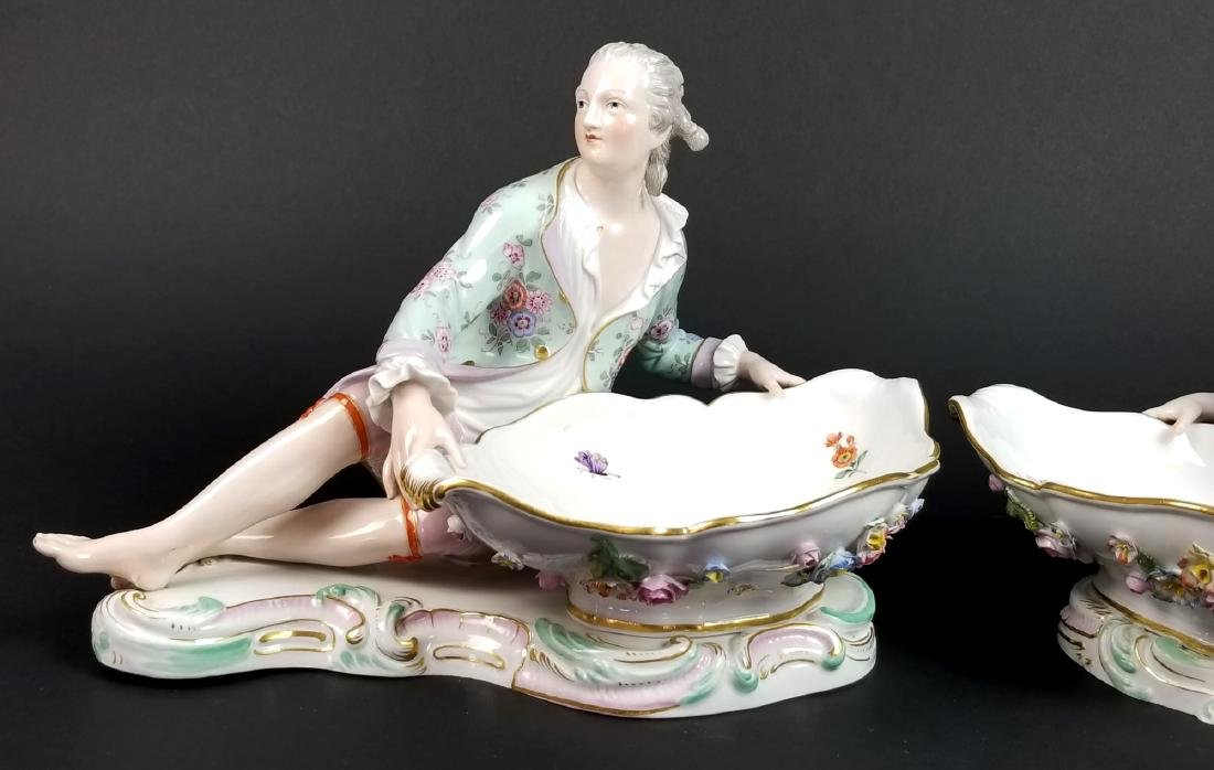 Pair  of 19th C. Meissen Figural Sweetmeat Dishes - 2