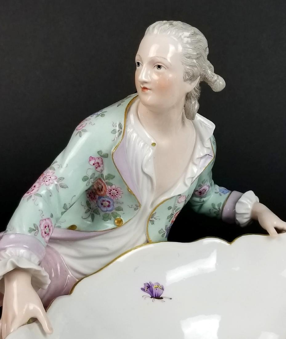 Pair  of 19th C. Meissen Figural Sweetmeat Dishes - 3