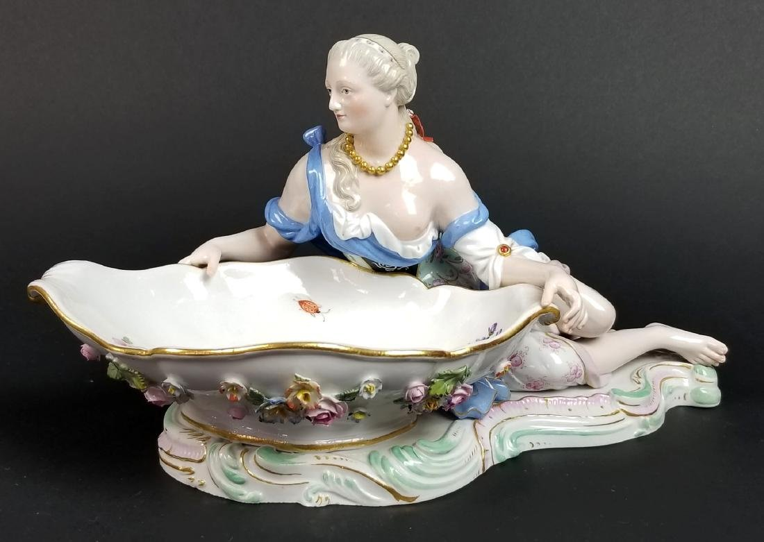 Pair  of 19th C. Meissen Figural Sweetmeat Dishes - 5