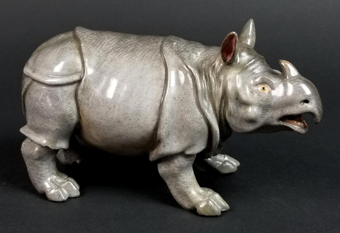 19th C. Meissen Porcelain Figure of Rhino