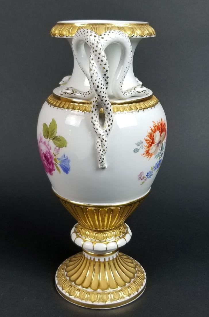 19th C. Meissen Cobalt Large Snake Handled Vase - 4