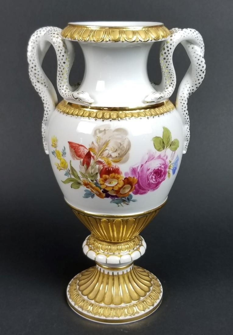 19th C. Meissen Cobalt Large Snake Handled Vase - 5