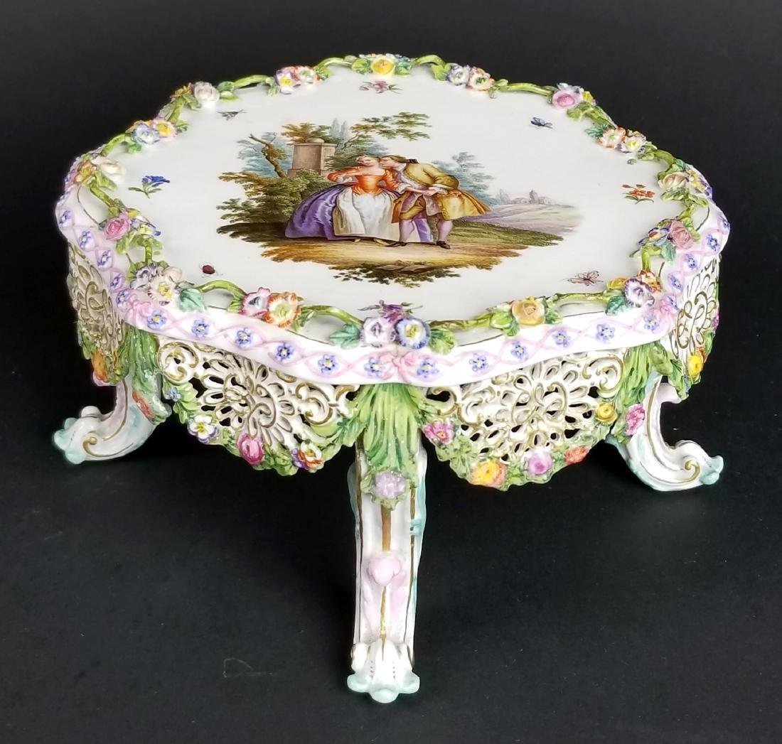 19th C. Meissen Floral Encrusted Porcelain Pedestal