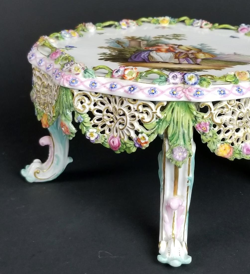 19th C. Meissen Floral Encrusted Porcelain Pedestal - 2