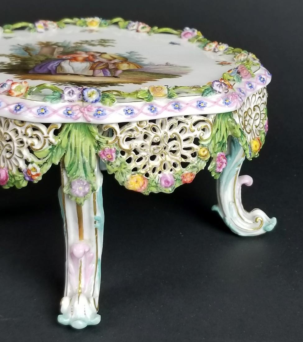 19th C. Meissen Floral Encrusted Porcelain Pedestal - 3