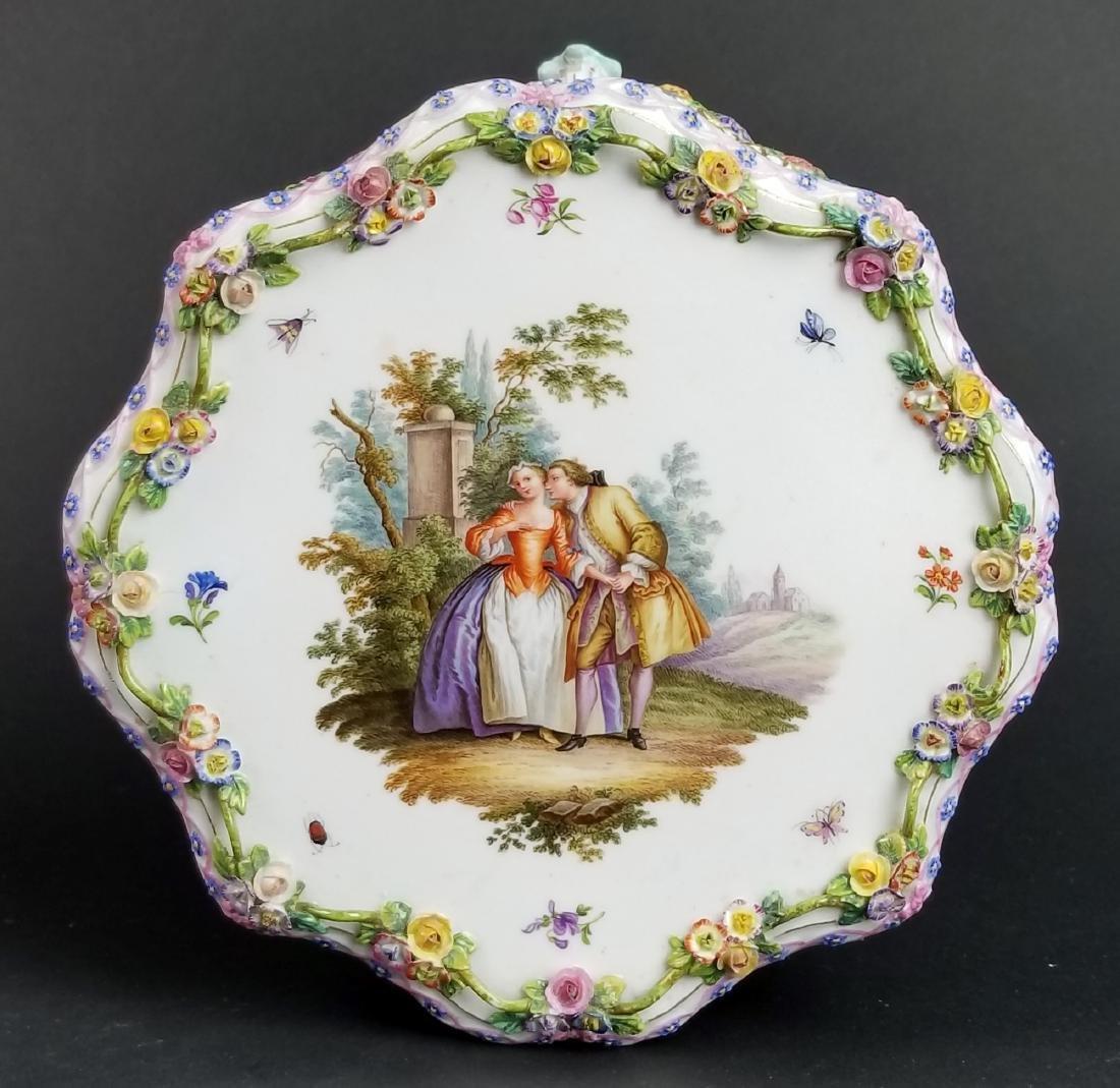 19th C. Meissen Floral Encrusted Porcelain Pedestal - 4