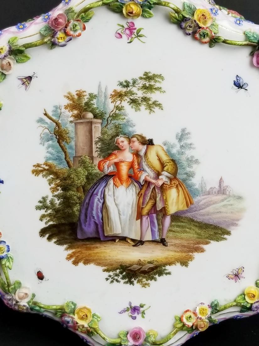 19th C. Meissen Floral Encrusted Porcelain Pedestal - 5