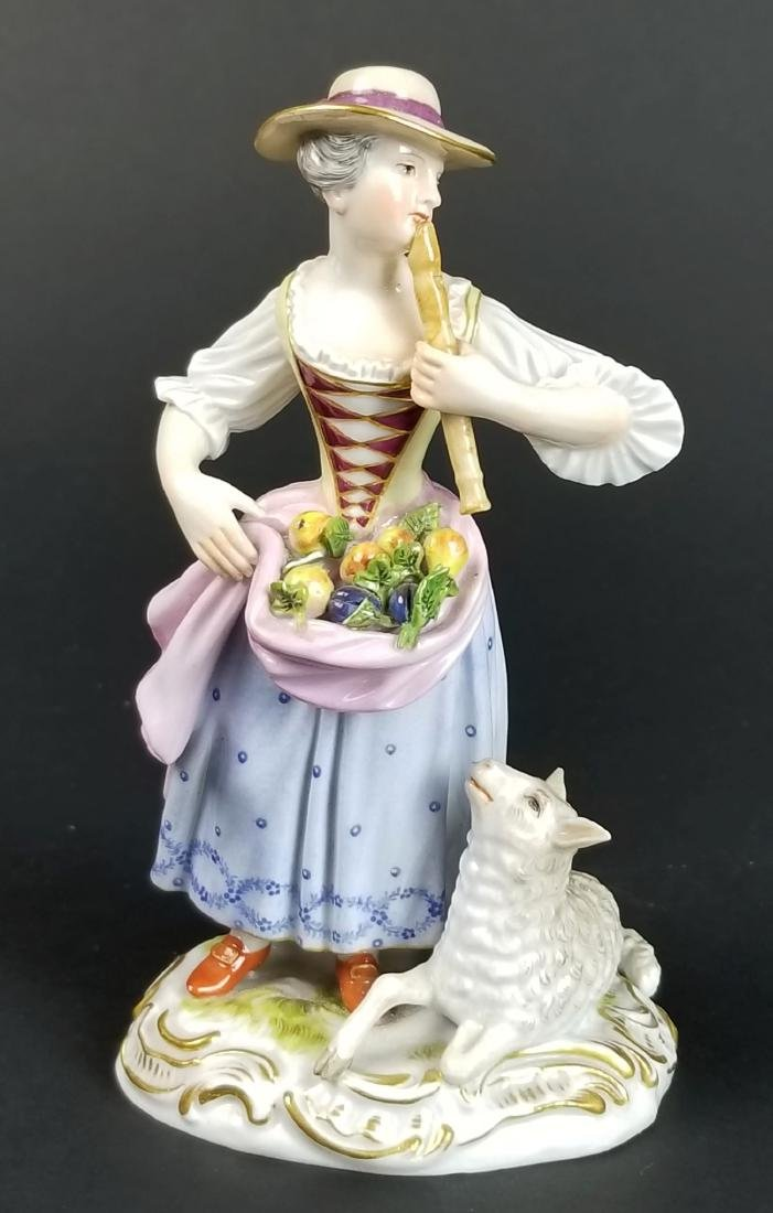 19th C. Meissen Figural Group of Woman w/ Sheep