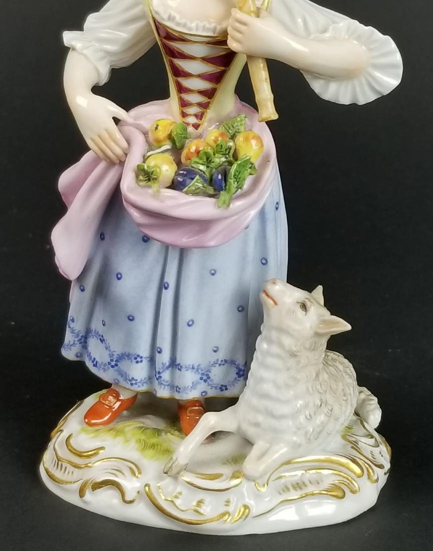 19th C. Meissen Figural Group of Woman w/ Sheep - 3